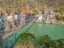 Laxman Jhula footbridge in Rishikesh Stock Photo