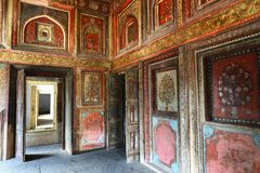 Laxmi Bai Mahal. Rani Mahal, Palace of Rani Lakshmi Bai embellished with multi colored art and painting on its walls and ceilings. Presently this palace is Royalty Free Stock Images