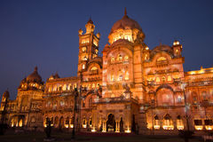 Laxmi Vilas Palace at night Stock Images