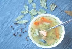 Laxsoppa med potatisar, morötter, dill Arkivfoton