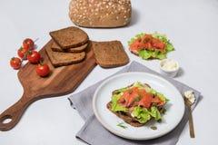 Laxsushi på brödet och salladen Royaltyfri Foto