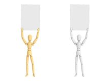 Lay Figure Doll Holding Poster royalty free illustration