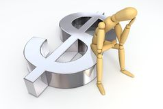 Lay Figure Sitting on Dollar Symbol Stock Photography