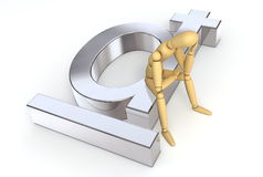 Lay Figure Sitting on Dong Symbol. Lay figure sitting thinking on dong symbol Royalty Free Stock Photography