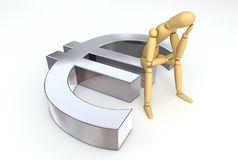 Lay Figure Sitting on Euro Symbol. Lay figure sitting thinking on euro symbol Royalty Free Stock Photography