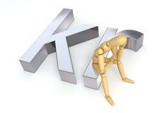 Lay Figure Sitting on Krone Symbol. Lay figure sitting thinking on krone symbol (denmark, norg Royalty Free Stock Photos