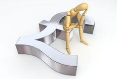 Lay Figure Sitting on Pound Sterling Symbol. Lay figure sitting thinking on silver shiny pound sterling symbol Royalty Free Stock Photos