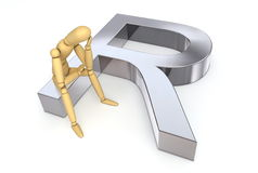 Lay Figure Sitting on Rand Symbol Stock Photo