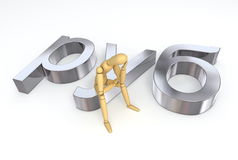 Lay Figure Sitting on Ruble/Rouble Symbol Stock Photo