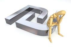 Lay Figure Sitting on Sheqel/Shekel Symbol. Lay figure sitting thinking on sheqel/shekel symbol Stock Image