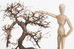 Lay figure with tree Stock Images
