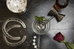 Lay flat of deconstructed mint julep Stock Photography