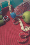 Lay Flat - Dumbbell, Measuring Tape, Hand Grip, Mineral Water, F Stock Photography