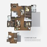Lay-out Binnenlands Plan met meubilair stock illustratie