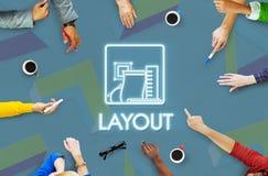 Lay-out het Uitgeven het Concept van het de Drukplan van het Regelingsontwerp Stock Afbeelding