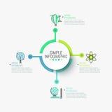 Lay-out van het Minimalistic de infographic ontwerp Centraal rond die element aan vier kleurrijke pictogrammen en tekstvakjes wor vector illustratie