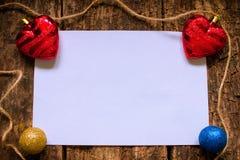 Lay-out voor de brief aan Santa Claus met Kerstmisspeelgoed Royalty-vrije Stock Fotografie