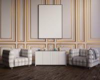 Lay-outaffiche met stoel en meest hippest van stoffenminimalism binnenlandse 3D illustratie als achtergrond Stock Afbeeldingen