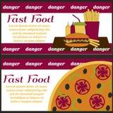 Lay-outspamfletten over slecht dieet Snel voedsel Stock Afbeeldingen