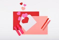 Lay-outvoorwerpen op het onderwerp - de Dag van Valentine ` s Royalty-vrije Stock Foto