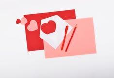 Lay-outvoorwerpen op het onderwerp - de Dag van Valentine ` s Stock Fotografie