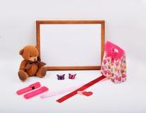 Lay-outvoorwerpen op het onderwerp - de Dag van Valentine ` s Royalty-vrije Stock Afbeeldingen