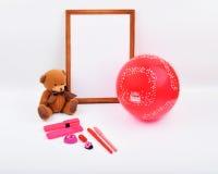 Lay-outvoorwerpen op het onderwerp - de Dag van Valentine ` s Stock Afbeeldingen