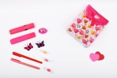 Lay-outvoorwerpen op het onderwerp - de Dag van Valentine ` s Royalty-vrije Stock Fotografie