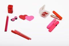 Lay-outvoorwerpen op het onderwerp worden geïsoleerd - de Dag die van Valentine ` s Royalty-vrije Stock Foto's
