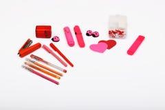 Lay-outvoorwerpen op het onderwerp worden geïsoleerd - de Dag die van Valentine ` s Stock Fotografie