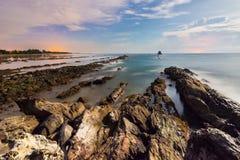 Layang-Layangan Moonlit Seascape. Layang-Layangan, Labuan, Malaysia seascape during full moon. The beautiful serene moonlit vista was captured few hours before stock images