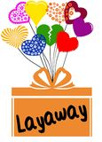 LAYAWAY on gift box with multicoloured hearts. Illustration concept Royalty Free Stock Photo