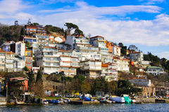 Layer buildings. The picture was taken in ferry around istanbul sea side in Marmara Sea Royalty Free Stock Photos