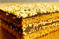 Layer cake. With nuts and chocolate Stock Photos