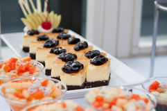 Layer Cake with blueberries Stock Image