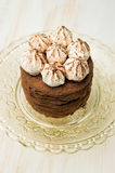 Layer cake with cocoa and meringue Stock Photo