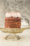 Layer cake with cocoa and meringue Stock Photography