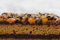 Layer cake decorated with dried fruits and honey Royalty Free Stock Photography