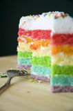 Layer cake with fork. Pieces of layer cake with fork Stock Images
