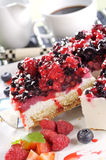 Layer cake with forrest fruits. And cream Stock Image