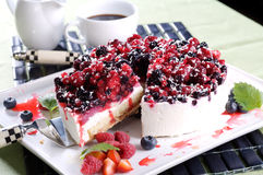 Layer cake with forrest fruits. And cream Royalty Free Stock Photography