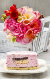 Layer cake with pink icing Stock Images