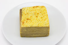 Layer cake on plate Royalty Free Stock Photo
