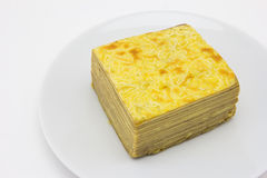 Layer cake on plate Royalty Free Stock Photos