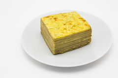 Layer cake on plate Stock Photo