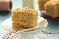 Layer cake from  puff pastry with custard cream Royalty Free Stock Images