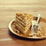 Layer cake with white cream royalty free stock photo