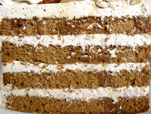 The layer of coffee almond cake Stock Photo