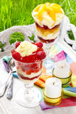 Layer fruit desserts on wooden tray Stock Image