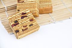 Layer fruits cake on mats Stock Photo